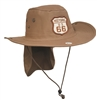 HISTORIC US 66 bush hat with a back flap to protect the back of the neck.