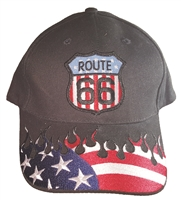 ROUTE 66 US flag on black cap with USA flames & ROUTE 66 flag shield