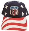 ROUTE 66 flag shield on USA print cap