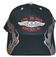 LIVE TO RIDE, RIDE US 101 flame cap