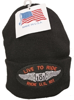 LIVE TO RIDE, RIDE US 101 black knit beanie made in USA.