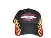LIVE TO RIDE RIDE US 101 black mid-profile acrylic cap with graduated red-orange-gold flames visor to side of the crown