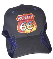 Royal Blue side flame cap with ROUTE 66 logo