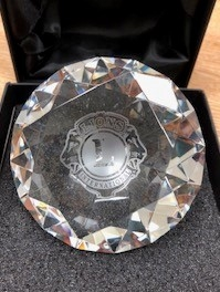 Glass Diamond Logo Paperweight