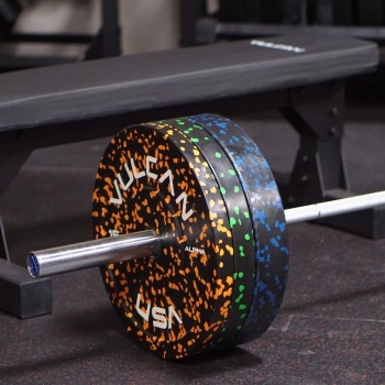 Bench, Bumper Plates, and Barbell Sets