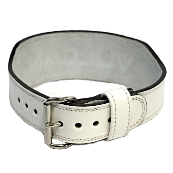 White leather Weightlifting Belt