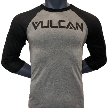 Vulcan Logo Baseball Tee- Grey/Charcoal Black