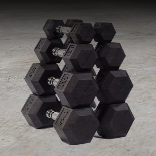 Hex Rubber Dumbbells