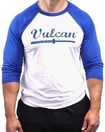 Vulcan Abused Barbell Baseball Tee- Blue