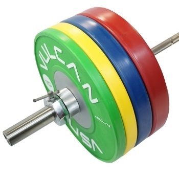Vulcan 160 kg Competition Bumper Plate Set and Barbell