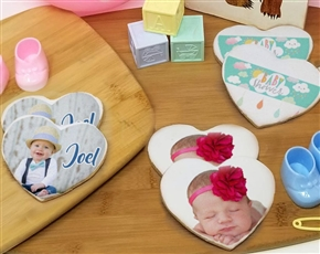 Heart Baby Shower Photo Sugar Cookies