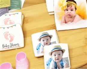 Square Baby Shower Photo Sugar Cookies