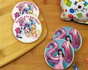 Round Birthday Photo Sugar Cookies