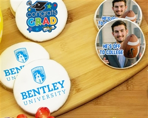Round Graduation Photo Sugar Cookies