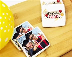 Square Graduation Photo Sugar Cookies