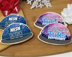 Happy New Year Snow Globe Logo Sugar Cookies