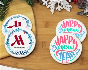 Happy New Years! Round Logo Sugar Cookies