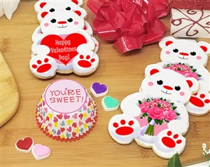 Valentine's Day Teddy Bear Sugar Cookies| Wicked Good Cookies | Personalized Gifts, Gourmet Cookies, Cookie Favors, Creative Holiday Gifts, Custom Logo Cookies, and Fund Raising Cookies