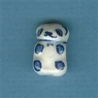 Bear Blue and White Bead