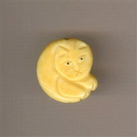 Bone Bead - Fat Flat Cat Hand Carved Bone