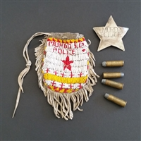 Photo of Native American Lawman's Bullet Pouch, Bullets and Badge