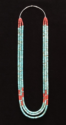 Photo of Santo Domingo Turquoise & Coral Heishi Necklace