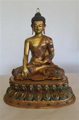 Photo of Tibetan Buddha, Gold Wash over Bronze, Early 20th Century