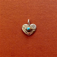Photo of the 15mm Navajo SS Heart-Turquoise Pendant