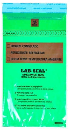 Specimen Bags Lab Seal®Tamper-Evidentwith Removable Biohazard Symbol - Green Tint
