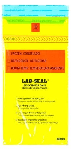 Specimen Bags Lab Seal®Tamper-Evident with Removable Biohazard Symbol - Yellow Tint