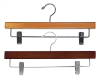 14 in. Wooden Pants Hangers - Chrome