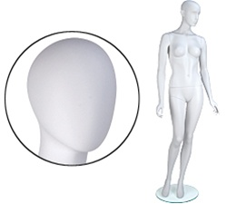 Female Mannequins: Arms by Side, Leg Forward, Oval Head