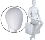 Female Mannequins: Seated, Hands on Lap, Oval Head