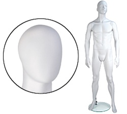 Male Mannequins: Arms by Side, Legs Bent, Oval Head