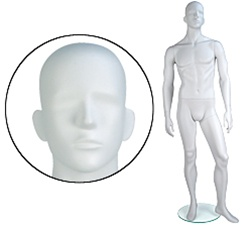 Male Mannequins: Arms by Side, Legs Forward, Abstract Head
