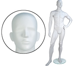 Male Mannequins: Left Hand on Hip, Leg Forward, Abstract Head