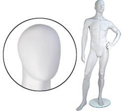 Male Mannequins: Left Hand on Hip, Leg Forward, Oval Head