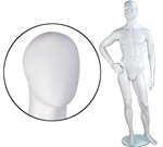 Male Mannequins: Right Hand on Hip, Leg Forward, Oval Head