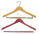 17 in. Wooden Wishbone Hangers - Chrome Hooks Wood Bar