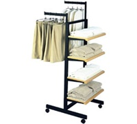 4 Shelf 2 Arm Rect Tubing Clothes Racks - Black