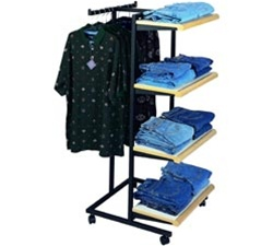 4 Shelf T-Stand Sq Tubing Clothes Racks