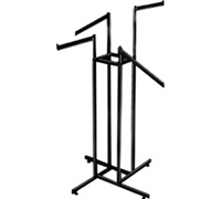 Black Rect Tubing 2 Straight 2 Slant Arm 4-Way Clothing Racks