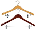 17 in. Flat Wooden Hangers - Chrome Metal Bar