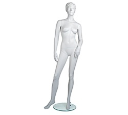Female Mannequins: Arm Bent, Leg to Side, Cameo White