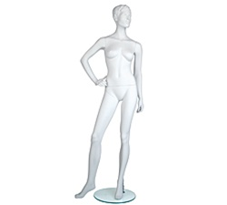Female Mannequins: Hand on Hip, Leg to Side, Cameo White