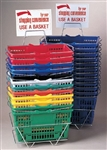Large Shopping Baskets w/ Stand and Header Sign