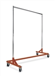 Economy Z Rack Hangrail Rolling Racks with orange base