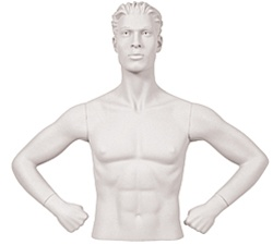 Male Mannequin Arms: Hands on Hips, White