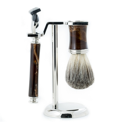 """Fusion"" Razor Shave Set with Brown marbleized razor and brush"
