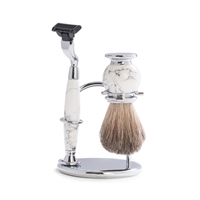 3 piece shave set with marbleized Razor and Brush